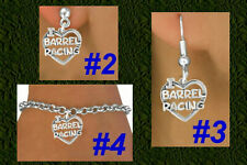 I LOVE BARREL RACING Heart Western Cowgirl Rodeo Cowboy Texas Horse Kids Jewelry