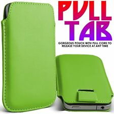 GREEN PREMIUM LEATHER PULL TAB CASE COVER POUCH FOR VARIOUS HANDSETS