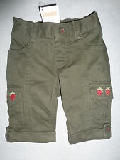 Gymboree BURST OF SPRING Olive Green Strawberry Cargo Capri Roll Up Pant NWT