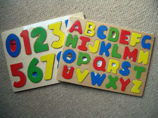 Childrens Kids Learning Wooden ABC Letters Alphabet or 123 Numbers Puzzle Toys