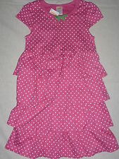 Gymboree BRIGHT TULIP Pink White Polka Dot Dangle Flower Tiered Dress Girls 5 6