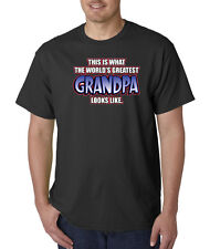 Worlds Greatest Grandpa Looks Like Funny 100% Cotton Tee Shirt