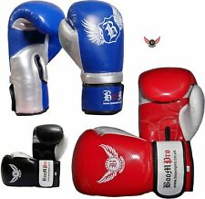 BOOM Pro Blue & Silver Maya Leather Boxing Gloves Sparring,MMA,Thai boxing,