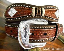 Nocona Western Mens Belt Leather Scallop Overlay Copper N2508808