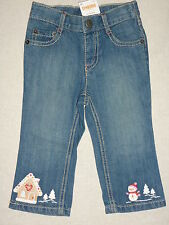 Gymboree COZY CUTIE Blue Denim Jean Snowman Gingerbread House Pants NWT Winter