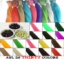MULTI COLOR Grizzly Neon Solid Feather Hair Extensions Micro Bead Hook Piler Kit