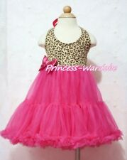 Leopard Print with Hot Pink ONE-PIECE Petti Dress Tutu Pettiskirt For Girl 2-8Y