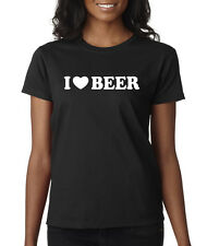 I love Beer Drinking Drunk Alcohol Fun Party Ladies Tee Shirt