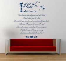Life goes on, Wall Art Quote, Poem, Wall Stickers, Vinyl Wall Art Decals, Mural