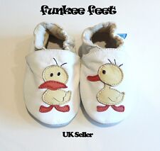 NEW SOFT LEATHER BABY SHOES 0-6, 6-12, 12-18, 18-24, 24-36 MTHS WHITE DUCK