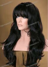 """New fashion!!14""""-28""""HAND TIED Synthetic Hair front lace wig with bang #01"""