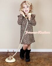Long Sleeve Leopard Party Evening Dress ONEPIECE Tutu Pettidress Girl 2-8Y PD001