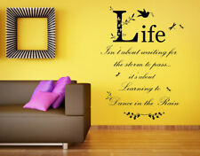 Dance in the Rain Quote, Vinyl Wall Art Sticker, Decal, Mural. Home, Wall Decor