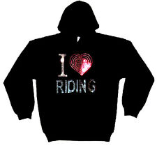 I LOVE RIDING HEAVYWEIGHT RHINESTUD HOODY  HOODIES(any size)