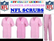 NFL FOOTBALL CANCER AWARENESS SCRUBS-NFL BREAST CANCER SCRUB TOP & PANTS-NWT
