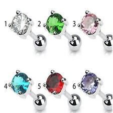 """5mm Round CZ Prong Tragus Cartilage Piercing Earring Stud 16 Gauge 1/4"""" 6mm  A73"""