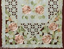 Spring Embroidered Rose Daisy Floral Cutwork Placemat Table Runner Ivory #3817A