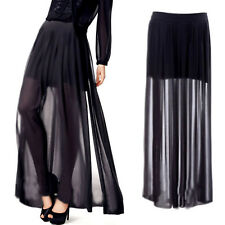 Women's See Through Sheer High Side Split Black Pleated Chiffon Maxi Long Skirt