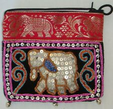 Thai Hmong Handmade Elephant Sequin bag with long strap 5 Colours Available