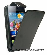 NEW BLACK GENUINE LEATHER FLIP CASE COVER FOR MOBILE PHONE AND SCREEN PROTECTOR
