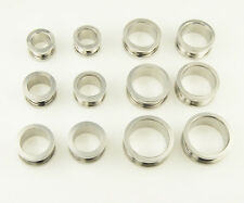 Ear Plug 316L Surgical Steel Silver Color Double Flare Eyelet Tunnel Plug 6size