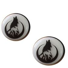 Pair of Howling Wolf Acrylic Glow in the Dark Ear Plugs Gauges Single Flare E339