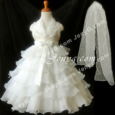 #SB51 Flower Girl/Pageant/Communions/Formal Gowns Dresses, Ivory 2-10 Years