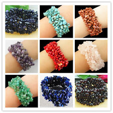 "30mm Mixed Gemstone Chip bead Stretch Bracelet 7"" XX1"