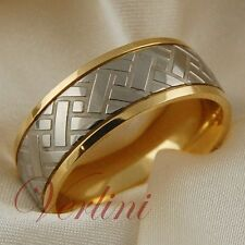 Men's Titanium Ring 14k Gold Wedding Band Tire Design Bridal Jewelry Size 6-13