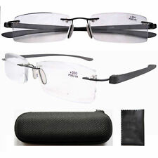 R14001 Lightweight Patented Design Rimless Fashion Reading Glasses Unisex W/case