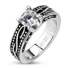 Stainless Steel Clear CZ Solitaire Prong Sea Wave Cast Wedding Band Ring R250