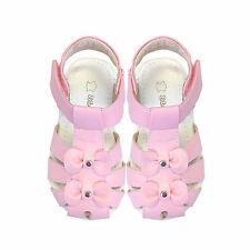NEW Girls Leather Sandals Size 4-8 Approx: 12M - 3Y White or Pink