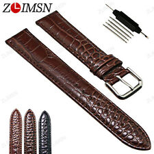 Watch Band Strap Genuine Leather Silver Polished Pin Buckle 18mm 19mm 20mm 22mm