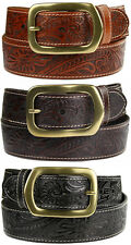 Jefferson - Western Tooled Genuine Leather Belt 1-1/2 wide New Black Brown Tan