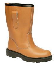 Mens Grafters Tan Leather Steel Toe Cap Safety Rigger Boots Sizes 6-15 Clearance