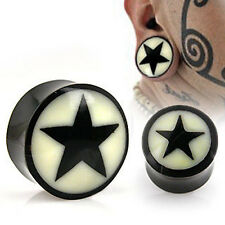 Natural Buffalo Horn Solid Saddle Plug / Tunnel with Bone Star Inlay
