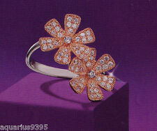 AVON Sterling Silver Flower Ring Rose Gold Plated with Cubic Zirconia Accents