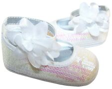 Baby girls white sequin soft sole special occasion shoe, in presentation box