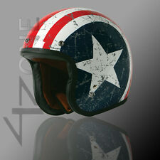 Torc T-50HF Route 66 Rebel Star Graphic 3/4 Open Face SCOOTER Helmet W/ SPEAKER