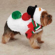 Dog Jacket Coat Snowman Fun Festive Warm Velcro Soft Swirl Plush Scarf Pom Poms