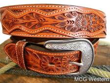 3D Western Mens Belt Leather Tooled Patch Floral Weave 8313