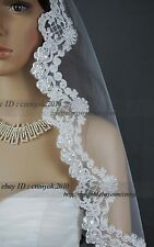 2013 New Design 1 Layer Mantilla Lace Edge Bridal Wedding Dress Veil White Ivory