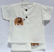 Boys Elephant Design Short Suit 100% Cotton Handmade in Thailand 4 sizes