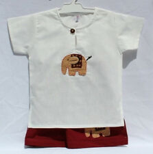 Boys Elephant Design Short Suit Red 100% Cotton Handmade in Thailand Size 0-2yrs