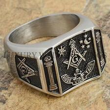 Mens Masonic Ring Square G & Pillars Master Mason Degree Rare Jewelry Size 9-13