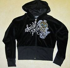 NWT South Pole Hoodie jacket black velour bling skull zip front silver gold