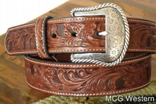 WESTERN BROWN GENUINE LEATHER BELT & BUCKLE