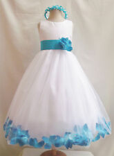 WHITE TURQUOISE CORNFLOWER ROSE PETAL WEDDING PARTY PAGEANT FLOWER GIRL DRESS