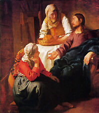 Christ in the house of Mary and Martha by Vermeer - Life of Jesus on Canvas