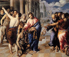 Christ healing the blind by Greco - Life of JESUS CHRIST Art Canvas